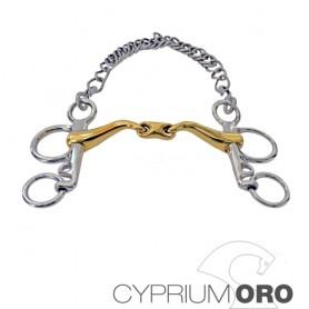 Bocado Sefton Cyprium Oro Pelham Embocadura 45º Partida Doble Pierna Corta