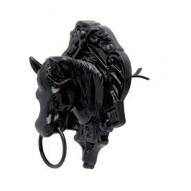 Amarre Pared Roldan Cabeza Caballo Con Escudo Negro